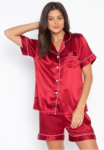 FEMINISM red Shortsleeve Shorts Set 12149AA60896DEGS_1