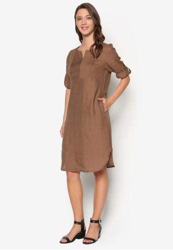 褶飾直筒式連身裙、 服飾、 洋裝Geb.褶飾直筒式連身裙最新折價