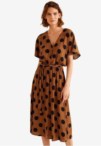 Mango brown Polka-Dot Flared Dress 6F226AADB2D83FGS_1