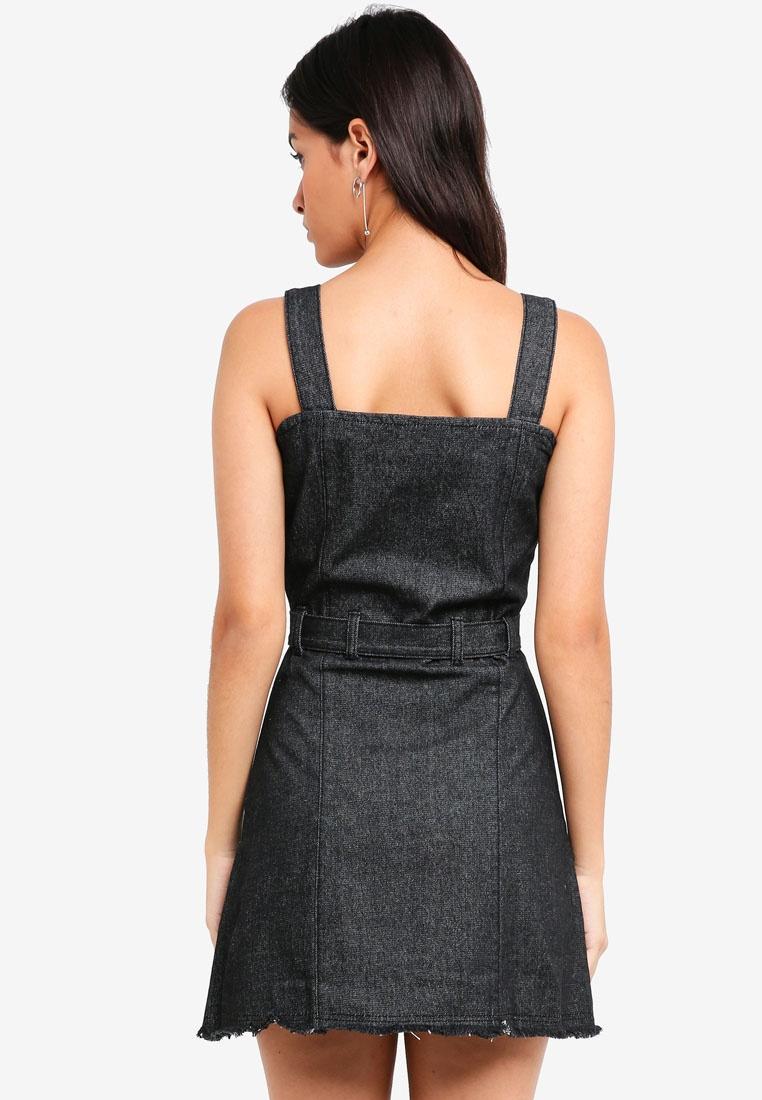 Tie Pinafore Self Denim ZALORA Dress Black Washed dqqwrp