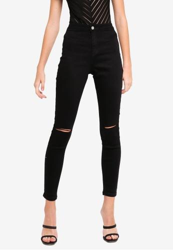MISSGUIDED black Vice High Waisted Slash Knee Skinny Jeans 4E4F8AABA39006GS_1