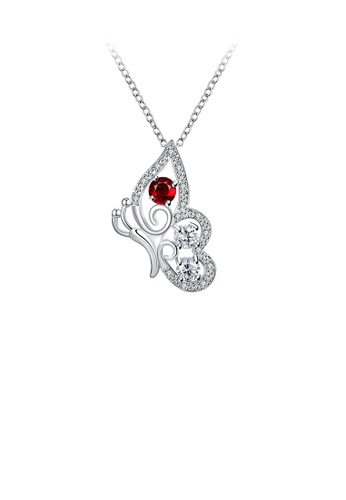 Glamorousky red Fashion Elegant Butterfly Pendant with Red Cubic Zircon and Necklace 6D0B5ACC1101A4GS_1