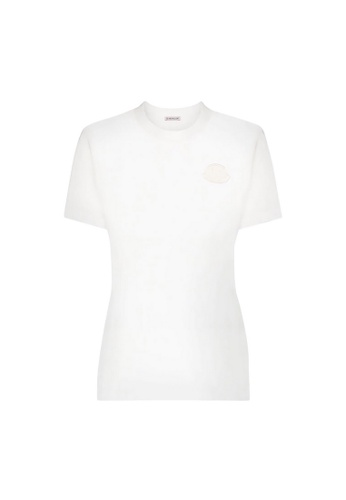 Moncler white Moncler Logo Patch T-Shirt in White 24ED6AA704550FGS_1