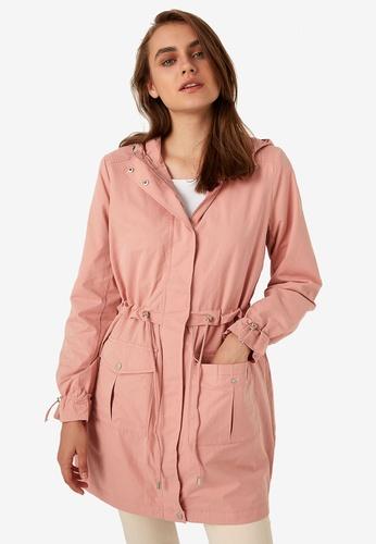 LC Waikiki pink Shirred Waist Lightweight Short Coat 21B70AA659BA67GS_1