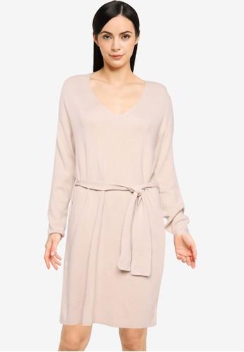 JACQUELINE DE YONG beige JDYDANCY L/S BELT DRESS KNT 6CE7BAABE5053AGS_1