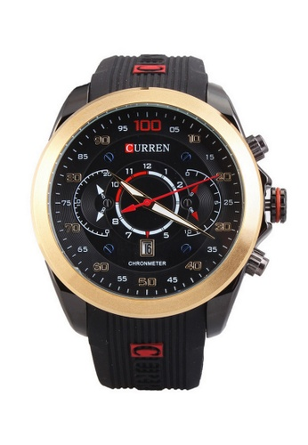curren black and gold Curren 8166 Men's Sporty Rubber Strap Watch (Gold Black) CU537AC23SYYMY_1