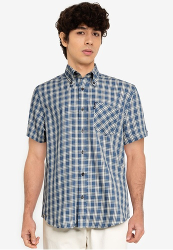 Ben Sherman blue Laundered Twill Check 8B6C0AA10FEE48GS_1