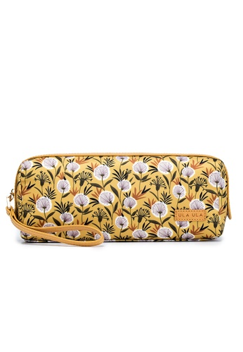 ULA ULA brown and yellow Ula Ula Hannah Donna Printed Fabric With Leather Trim Extra Long Toiletry Pouch / Piccolo Pouch 31B15ACC02BAC2GS_1