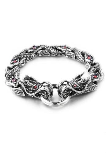 LYCKA silver J171073 316L Titanium Steel Dragon Bracelet - Silver LY529AC0GYBZSG_1