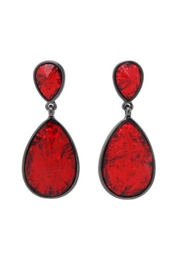 Jaysa Collection red Shimmering Scarlet Resin Jewel Dangle Earrrings JA875AC0F6GJSG_1