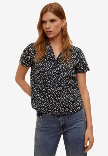 Mango navy Short Sleeved Cotton Shirt 61614AA1FE12FAGS_1