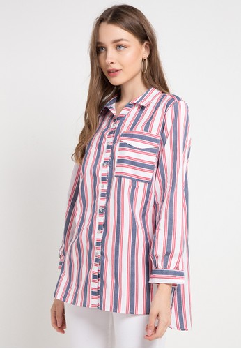 Le'Rosetz multi Stripes Spangled Blouse D7E07AA36508BDGS_1