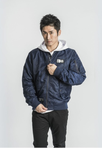 L.I.M.I.T.E navy Men's Silicon Patch with Printed Nylon MA-1 Jacket 4859EAA17A85ECGS_1