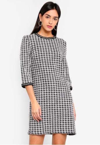 Buy Dorothy Perkins Houndstooth Long Sleeve Shift Dress Online