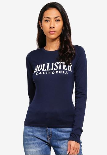 Hollister 海軍藍色 長袖修身T恤 16A85AA786829EGS_1