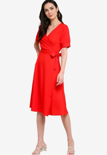 ZALORA WORK 紅色 綁帶洋裝 081DAAA118E6EBGS_1