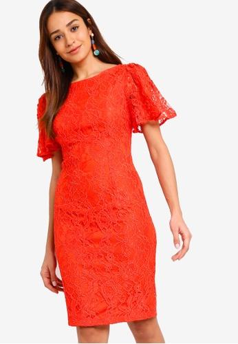ZALORA orange Flare Sleeves Lace Sheath Dress 432E5AAB1152BFGS_1