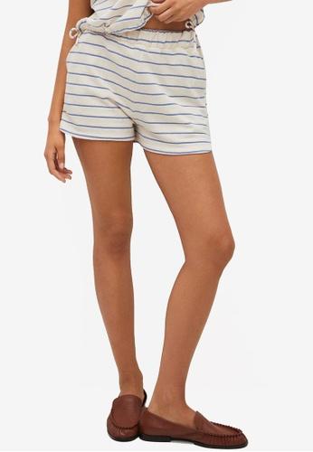 Mango blue Cotton Striped Shorts BEE1BAA2C33588GS_1