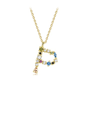 Glamorousky silver 925 Sterling Silver Plated Gold Fashion Simple Color English Alphabet P Pendant with Cubic Zirconia and Necklace 9DBB2AC29A82EBGS_1