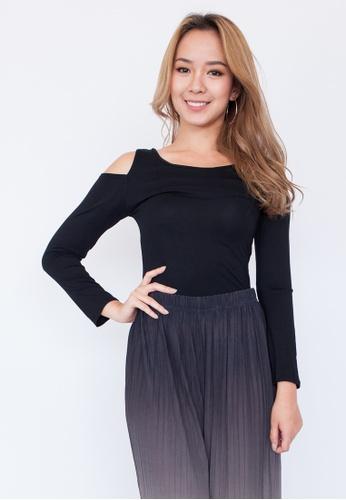 73d635d1f9 Hook Clothing black Long Sleeve Cold Shoulder Top 5EFFDAA36003F4GS 1