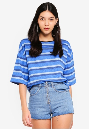 UniqTee blue Drop Shoulder Half Sleeve Top 8CE85AAFE39A5DGS_1