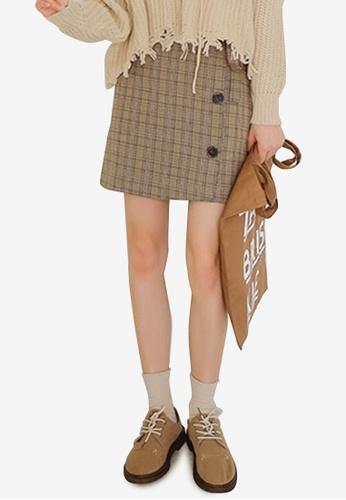 Shopsfashion 米褐色 Wrapped Checked Skirt 88C4FAA04EB8BEGS_1