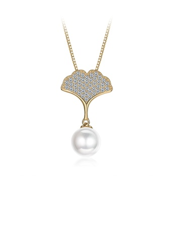 Glamorousky white 925 Sterling Silver Plated Gold Elegant Apricot Pearl Pendant with Austrian Element Crystal and Necklace AF7A6AC14F01CCGS_1