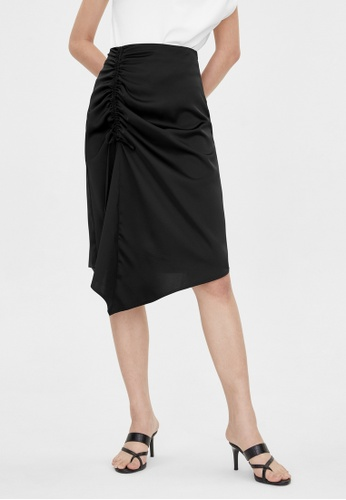 Pomelo black Side Tie Ruched Skirt - Black 079F7AA75D932BGS_1