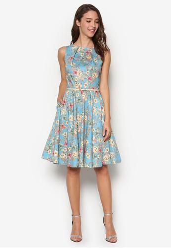 碎花扇貝腰帶洋裝, 韓系esprit衣服目錄時尚, 梳妝
