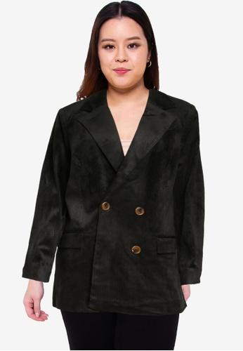 Vero Moda black Plus Size Lora Long Sleeve Blazer BA6D8AAA90ACD0GS_1