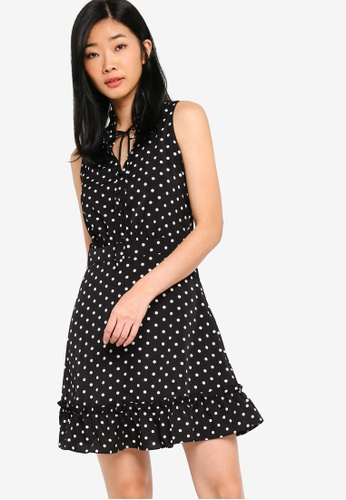 Something Borrowed black Fluted Hem Sleeveless Dress C6596AAFF50DC9GS_1
