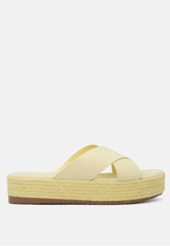 London Rag 黃色 交叉带厚底松高托鞋 6C616SH5277B99GS_1