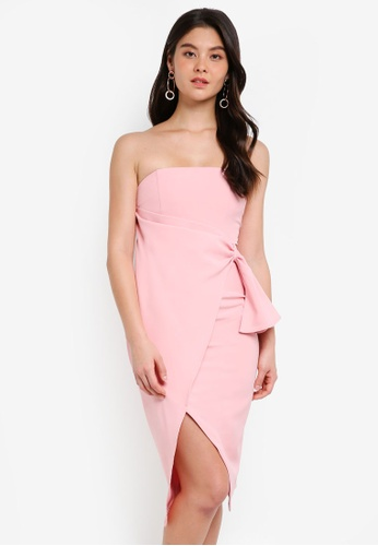Lavish Alice pink Bandeau Wrap Over Midi Dress LA457AA0SSQOMY_1
