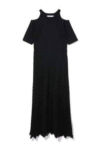 b+ab black Cold shoulder dress 44004AA507D0B7GS_1