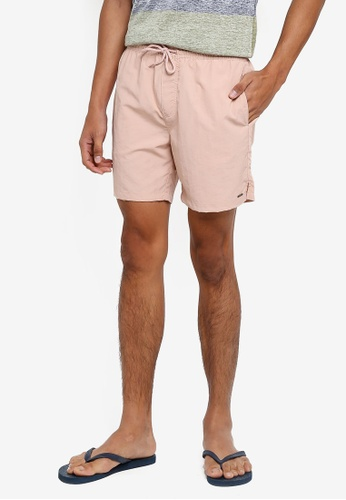 !Solid pink Hector Nylon Shorts EB03CAA69FF925GS_1