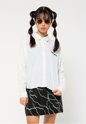 COLORBOX white Long Sleeves Shirt with Slit 8F4DAAADF931D1GS_1