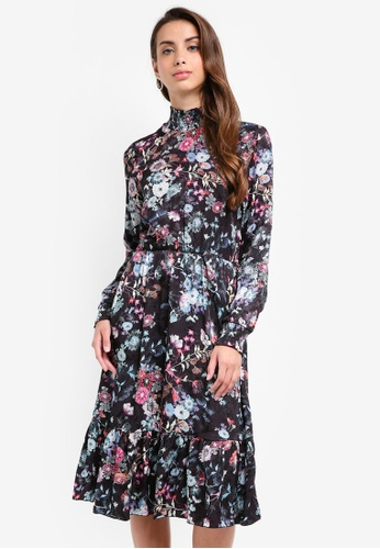 Vero Moda black and multi Floral Midi Dress 860BBAA52FE907GS_1