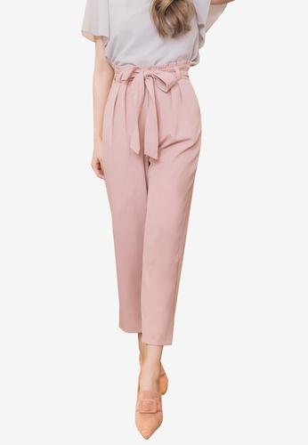 YOCO pink Tie Highwaist Culottes 90974AA8A94C7CGS_1