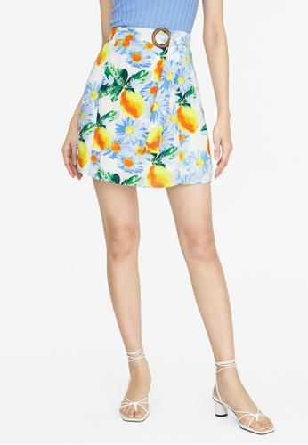 Pomelo white Mini Floral Buckle Skirt - White 6C5EFAAB579EFEGS_1