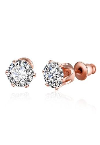 Tiaria pink Tiaria Popular Geometry Earrings Rose Gold Coated Aksesoris Perhiasan Anting AKE054--K10 C742CAC7DA0756GS_1