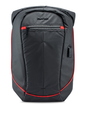 Playboy black Backpack 56675ACB224DDFGS_1