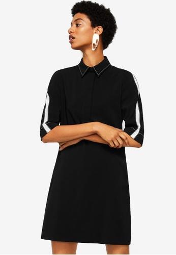 Mango black Contrast Trim Dress 1B400AA8266106GS_1