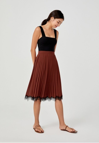 Love, Bonito brown Rebecca Lace Trim Pleated Midi Skirt 17BB3AAC1EE118GS_1