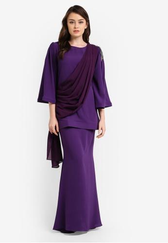 Zuco Fashion purple Chiffon Midi Kurung ZU882AA0RUJRMY_1