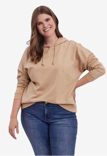 Vero Moda beige Plus Size Octavia Long Sleeve Hoodie FC385AAC26DA71GS_1