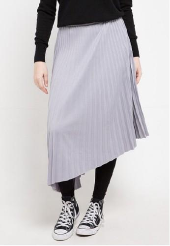 ZAHRA SIGNATURE grey Asymetrical Plisket Skirt 208C8AA8C5A3E4GS_1