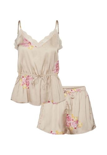 Vero Moda brown and beige Heide Nightwear Cami Set EA615AA6B5F187GS_1