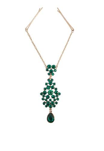 祖母綠寶石連接髮夾髮針, 飾品配esprit 西裝件, 髮飾