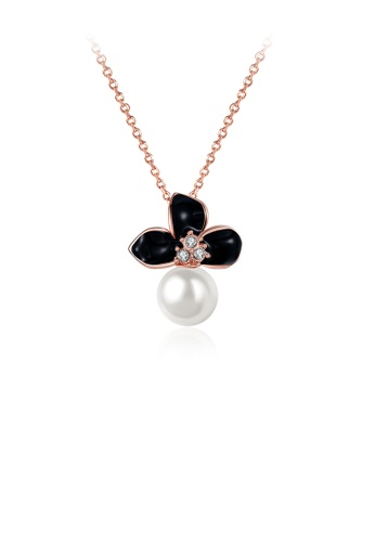 Glamorousky white Plated Rose Gold Flower Pendant with Fashion Pearls and Necklace 770E3AC02B20C7GS_1