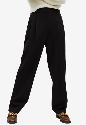Mango black Pleat Straight Trousers 88121AA5DDE4C3GS_1